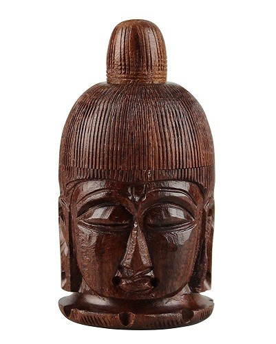 "3"" Teak Wood Buddha Container w/Screw Top"